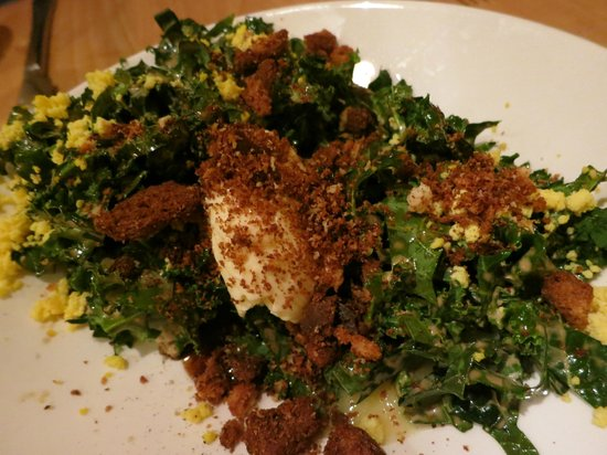 Local Roots: Crispy kale salad with cheese ice cream..taste better than it photographs!
