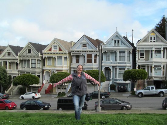 Singing and dancing in front of the painted ladies!
