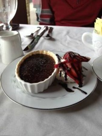 Blackbird Bistro: Chocolate Creme Brûlée with Strawberries and Whipped Cream