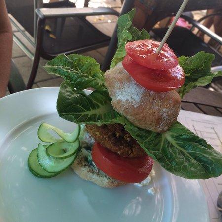 Eat at Martins : Carrot Burger - organic spelt roll, spirulina sauce, goat cheese or hummus