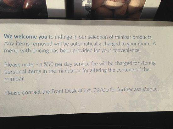 ARIA Resort & Casino: Aria mini fridge fee for use
