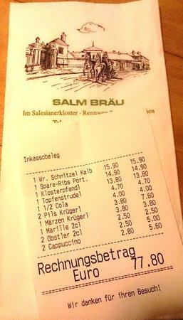 Salm Bräu: Счет