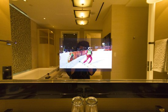 Skylofts at MGM Grand: Epitome of excess - TV in the mirror..next to another TV?