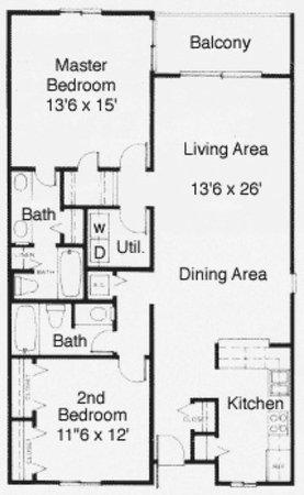 Anchorage I & II: 2 Bedroom Floor Plan