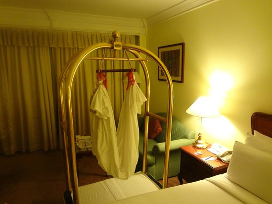 Le Royal Meridien Chennai: Traditional baby coat arranged by housekeeping staff