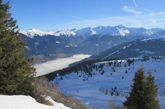 Looking down over the cloud covered Gastein Valley from Hofgasteinerhaus, Bad Hofgastein, Austri