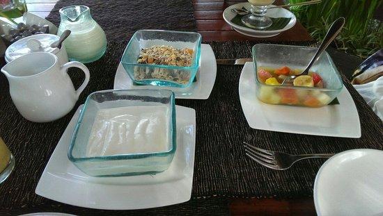 Kupu Kupu Barong Villas and Tree Spa: Fruit and muesli with yoghurt.