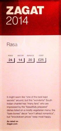 Rasa N16: Zagat Award 2014