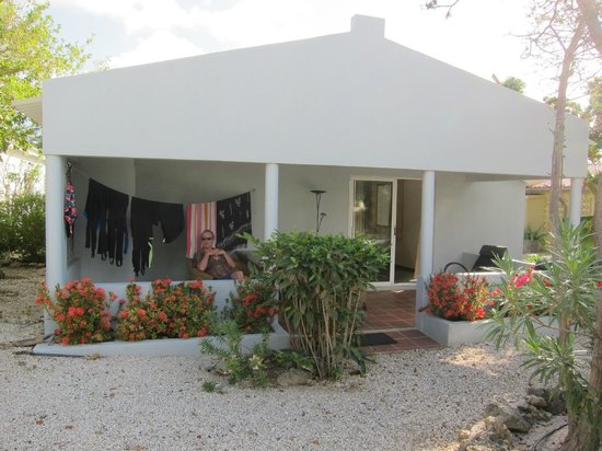 Caribbean Club Bonaire: room 217 - nice big porch to eat on every night and leave all our gear