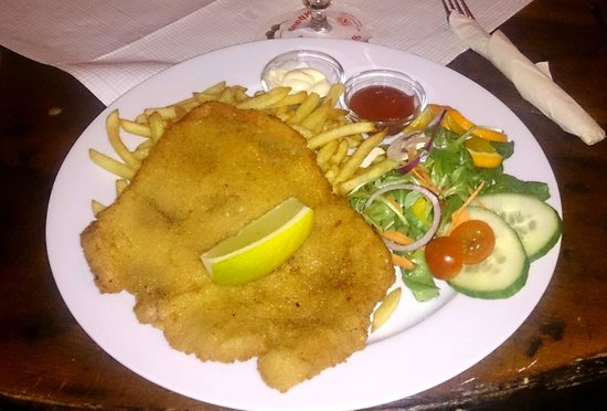 schnitzel with pommes picture of martinique restaurant and bar berlin tripadvisor. Black Bedroom Furniture Sets. Home Design Ideas