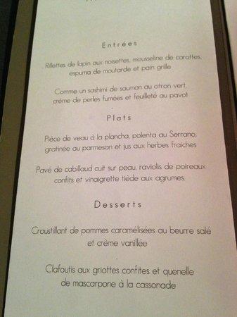 Le Bain Marie : Dinner Menu