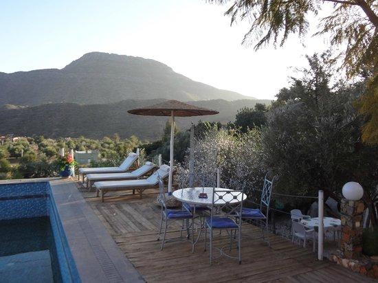Riad de l'Olivier: Bord de la piscine au coucher du soleil