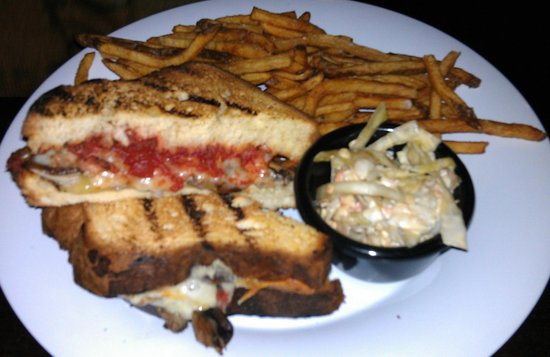 Crossroads Brewing: Pub Grilled Cheese with hopped tilsit and cheddar cheese, balsamic tomato jam, & sweet apple sla