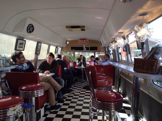 Interior shot of the airstream picture tube diner