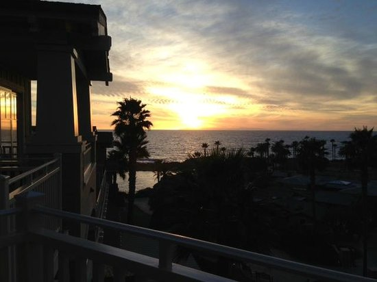 Montage Laguna Beach: Sunset from room; backside of hotel on fifth floor