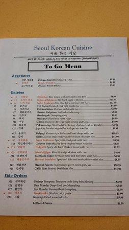 Seoul Korean Cuisine: The menu