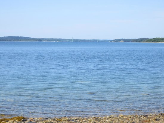 Oceanfront Camping at Reach Knolls: looking west up the Reach at the Deer Isle Bridge