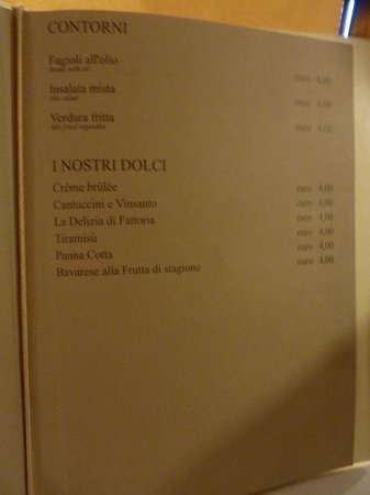 Ristorante La Fattoria: menu