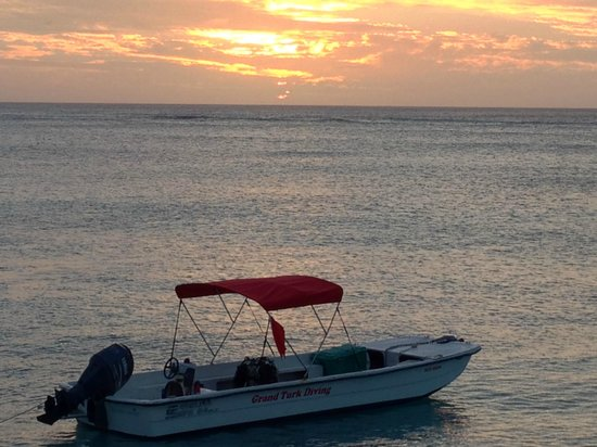 Grand Turk Diving : Our Diving Boat at Sunset