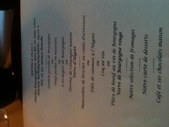 La Tour Bajole: Un des nombreux menus