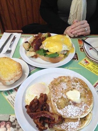 Dor-Stop Restaurant : West Coast Eggs Benedict and Banana Walnut Pancakes