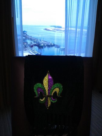 Hard Rock Hotel & Casino Biloxi : Fleur de lis scarf and view facing east of 'Biloxi Small Craft Harbor' and 'Deer Island' on righ