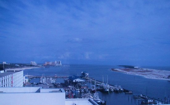 Hard Rock Hotel & Casino Biloxi : East view from room overlooks 'Biloxi Small Craft Harbor' and 'Deer Island' on right.