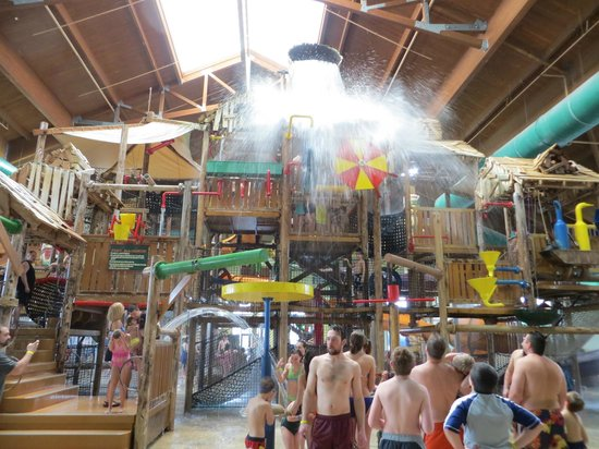 Great Wolf Lodge: The Great Wolf Bucket that fills up and then empties on everyone under it!!