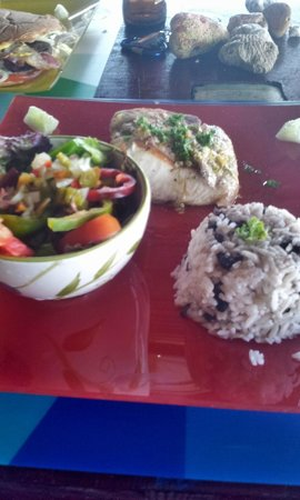 Paki Point: Mahi fillet with coconut rice and salad