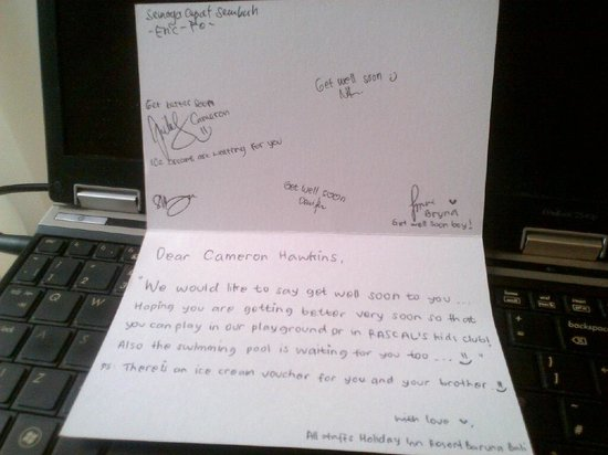Holiday Inn Resort Baruna Bali: A get well soon card from the staff - excellent service!