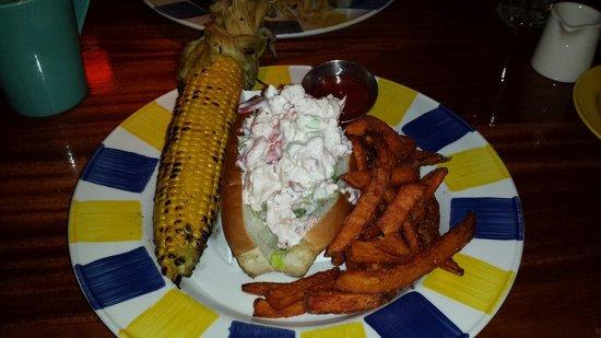 Coastal Flats : Corn on the husk Lobster roll Sweet potato fries