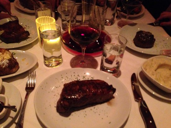 Fleming's Prime Steakhouse & Wine Bar: Dry aged New York strip cast ironed