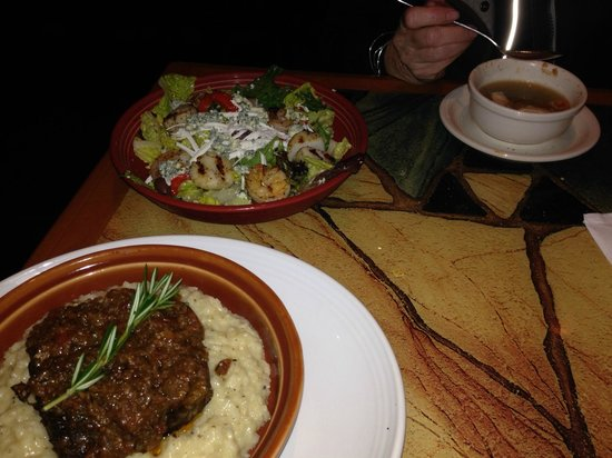 Carrabba's Italian Grill : Slow cooked beef ribs over risotto, grilled seafood salad, and chicken soup.
