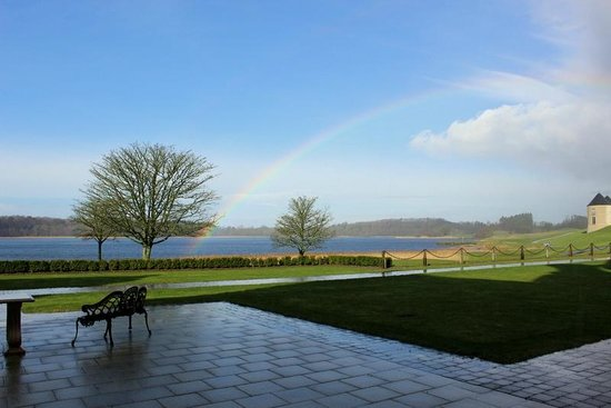 Lough Erne Resort: Rainbow view from the hotel foyer
