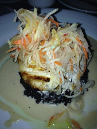 Beach House Restaurant: Grilled Swordfish over black sticky Thai rice red curry sauce.
