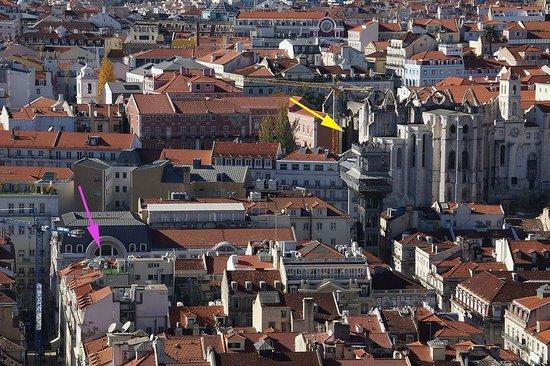 Lisbon Short Stay Apartments Baixa: Pink is hotel / Yellow is Elevador de Santa Justa & Convento do Carmo