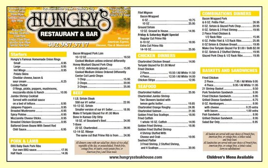 Hungrys North: Our menu at a glance