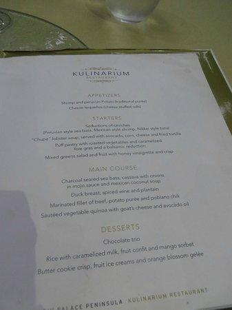 menu at vip rest   picture of hotel riu palace peninsula