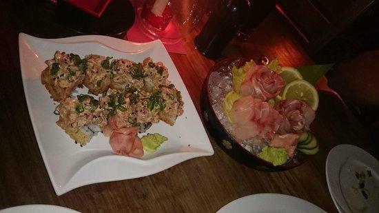 Thai Kani restaurant : Spicy tuna crispy rice sushi, red snapper sashimi