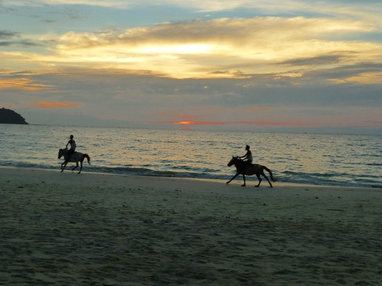 Sandoway Resort: Horse riders along Ngapali Beach at sunset
