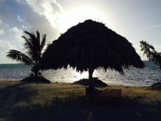 St. George's Caye Resort: Sunrise in front of Beach bungalows