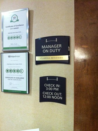 Staybridge Suites Corpus Christi : Manager on Duty (so I wouldn't forget)