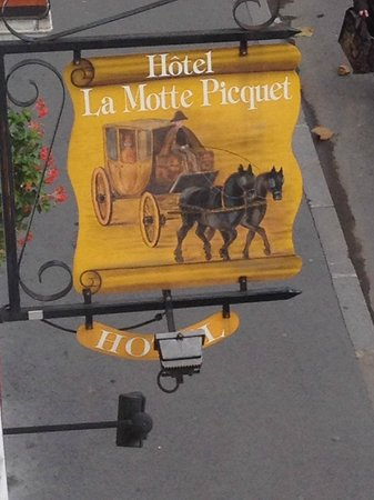 Hotel Motte Picquet: Quaint sign foretells of decor and ambience of hotel