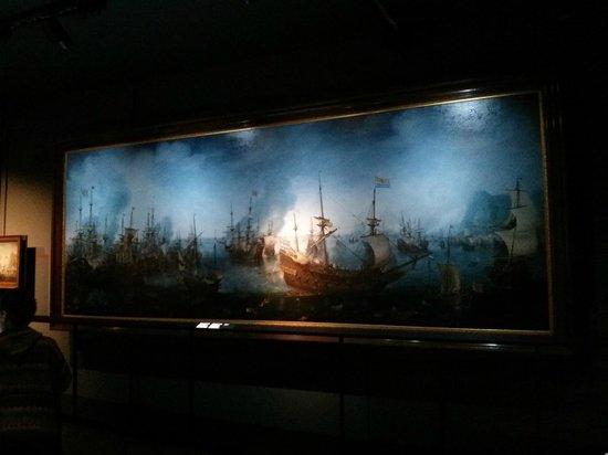 Het Scheepvaartmuseum: tableau magnifique à l'entrée d'une des expo
