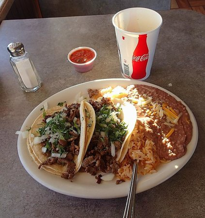 Taqueria Los Hermanos: Beef Tacos Rice and Beans. This place is NOT closed!