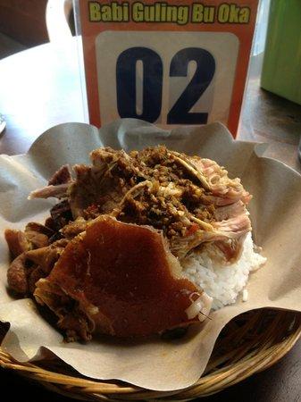 Warung Babi Guling Ibu Oka 3: a plate of babi guling with rice