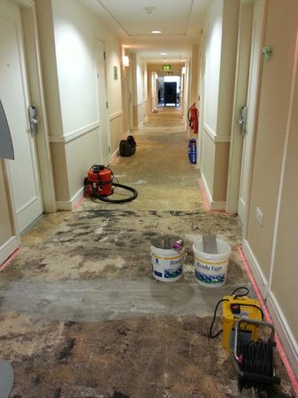 The River Lee: Replacing carpets on 4th floor during our stay