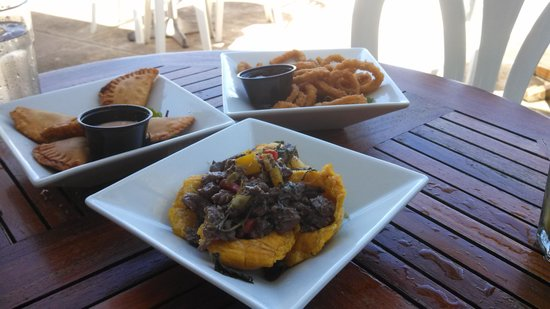 La Playita Restaurant & Bar : mini mofongo, calamari, chicken turnovers