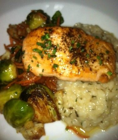 Cru Cafe : Ginger Seared Salmom and Lemon Risotto