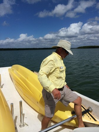 Everglades Area Tours: Our guide Jeff Putting Kayaks back into boad
